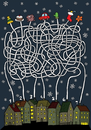 Christmas Maze Game ... Task: Each house gets its own present! ... Answer: 1 - bear; 2 - star; 3 - sock; 4 - cap; 5- car; 6 - gloves; 7 - cake.  Vector