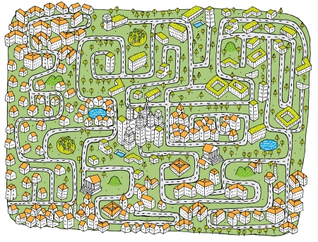 find: Urban Landscape Maze Game ... Find the right road to down town!