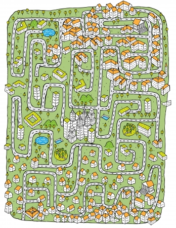 Urban Landscape Maze Game ... Find the right road to down town!  Vector