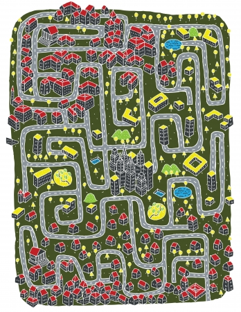 Urban Landscape Maze Game ... Find the right road to down town!  Stock Vector - 17111342
