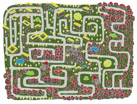 mind games: Paisaje Urbano Juego del laberinto ... Encontrar el camino correcto a centro de la ciudad! Vectores