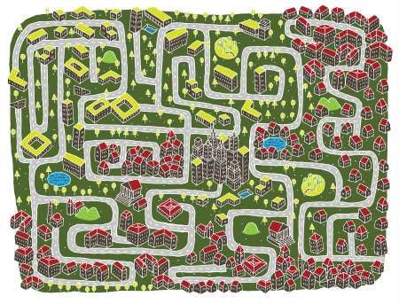 Urban Landscape Maze Game ... Find the right road to down town! Stock Vector - 17111347