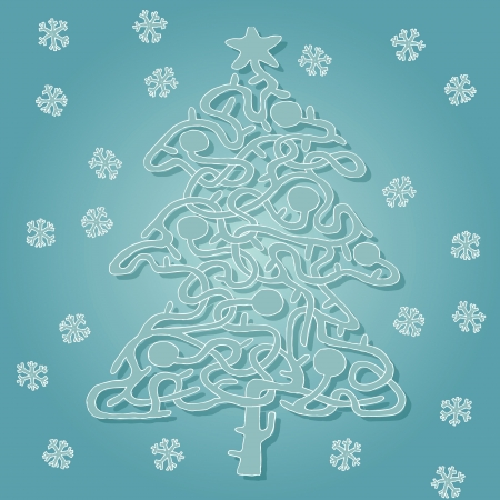 Christmas Tree Shape Maze Game ... Task: Find the right way from bottom to star! ... Solution is in hidden layer!  Vector