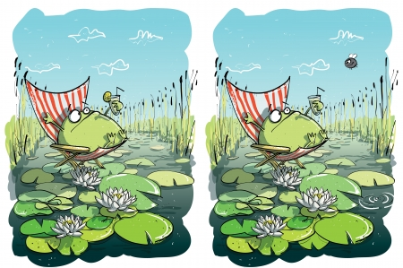 Frog Having Fun ... Find 10 Differences ... solution in hidden layer  向量圖像
