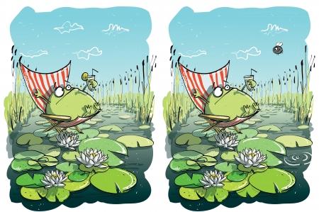 Frog Mit Fun ... Finden Sie 10 Unterschiede ... L�sung im verborgenen Schicht