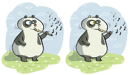 Panda mit Fl�te ... Finden Sie 10 Unterschiede ... L�sung im verborgenen Schicht