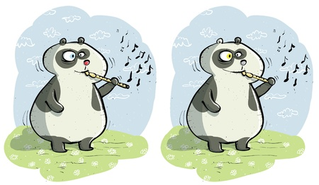 Panda with Flute ... Find 10 Differences ... solution in hidden layer 版權商用圖片 - 17111399