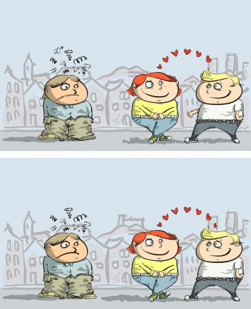 Jealousy: Find 10 Differences ... with solution in hidden layer  Illustration