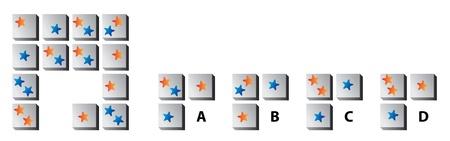 mind games: MIND PUZZLE: Encuentra la pieza correcta que falta! Respuesta: C (cada estrella aparece tres veces en cada fila y columna)