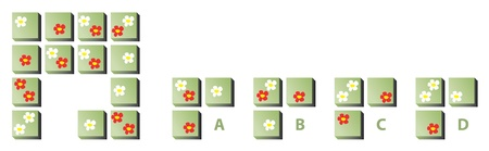 appears: MIND PUZZLE: Find the correct missing part! Answer: C (each flower appears three times in each row and column)  Illustration