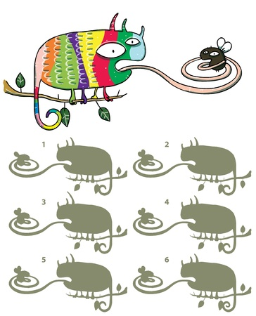 fly cartoon: Chameleon And Fly Mind Game ... Find the right mirror image! ... Answer: No. 4.  Illustration