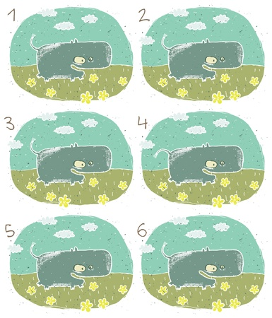 which one: Hippo Puzzle     Task  Find two identical images  match the pair       Answer  No  2 and 5