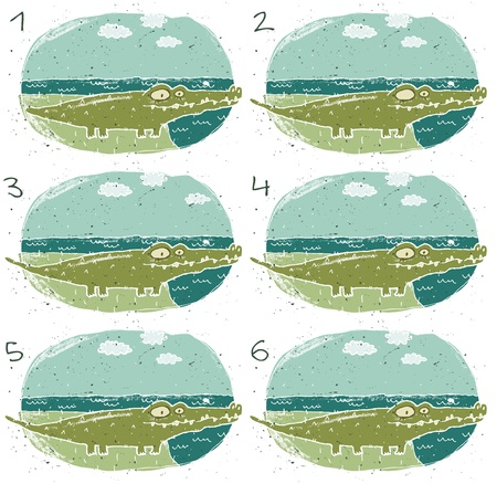 teaser: Crocodile Puzzle     Task  Find two identical images  match the pair       Answer  No  4 and 5