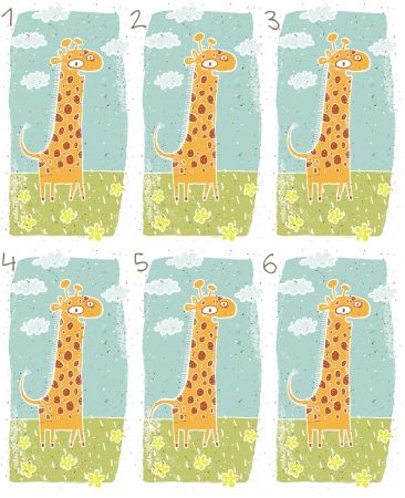 teaser: Giraffe Puzzle     Task  Find two identical images  match the pair       Answer  No  3 and 4  Illustration
