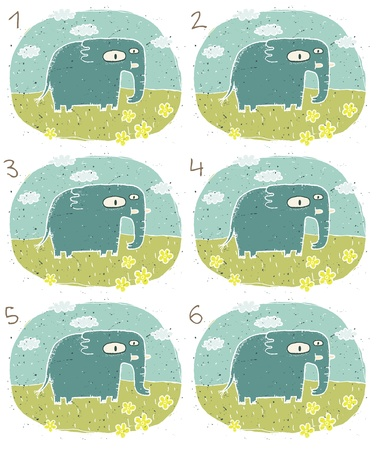 Elephant Puzzle     Task  Find two identical images  match the pair       Answer  No  2 and 6  Vector
