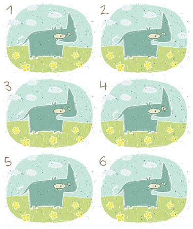 which one: Rhino Puzzle     Task  Find two identical images  match the pair       Answer  No  3 and 6