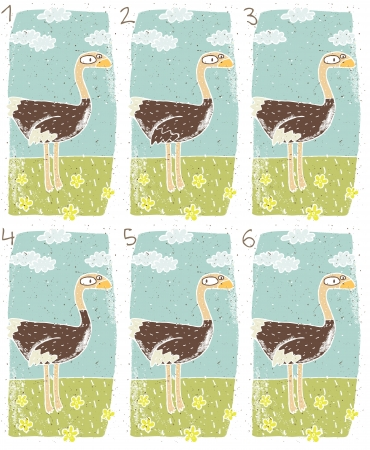 which one: Ostrich Puzzle     Task  Find two identical images  match the pair       Answer  No  1 and 6  Illustration