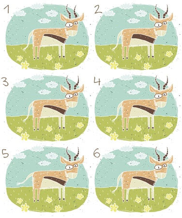 brain teaser: Antelope Puzzle     Task  Find two identical images  match the pair       Answer  No  3 and 4  Illustration