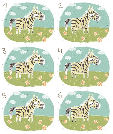 which one: Zebra Puzzle     Task  Find two identical images  match the pair       Answer  No  1 and 4  Illustration