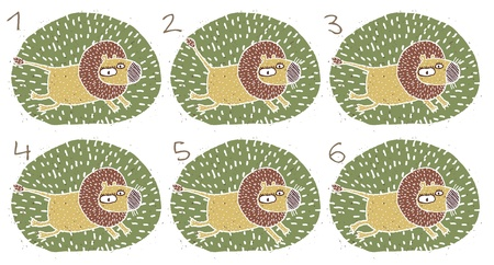 which one: Lion Puzzle     Task  Find two images that are alike   match pairs ; Answer  No  3 and 4