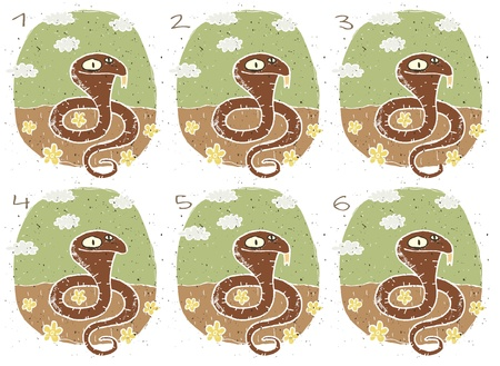 no 1: Cobra Puzzle     Task  Find two images that are alike   match pairs ; Answer  No  1 and 6
