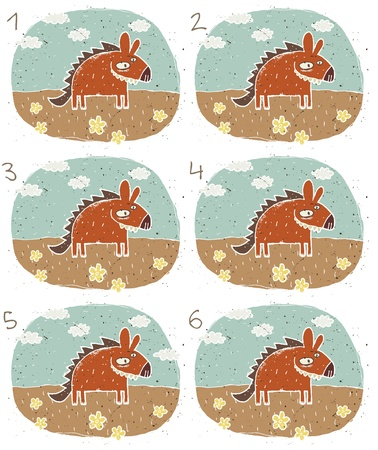 alike: Hyena Puzzle     Task  Find two images that are alike   match pairs ; Answer  No  1 and 4