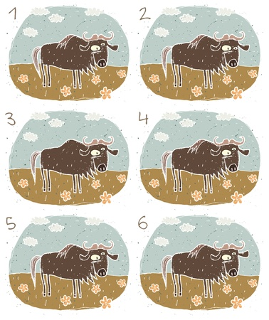 teaser: Gnu Puzzle     Task  Find two images that are alike   match pairs ; Answer  No  4 and 5