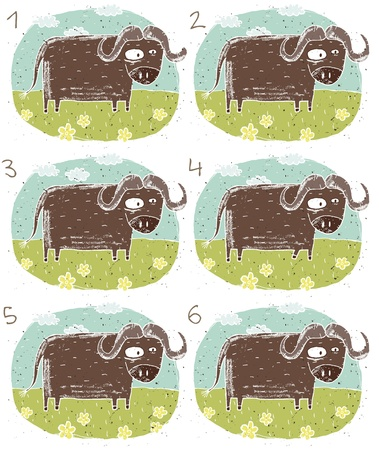 Buffalo Puzzle     Task  Find two images that are alike   match pairs ; Answer  No  2 and 6 Stock Vector - 17111426