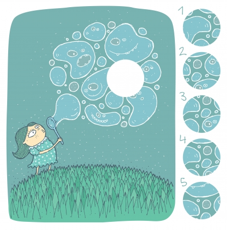 Girl with Soap Bubbles Mind Game Puzzle     Task  Find the right missing part of a picture      Solution  No  4  Vector