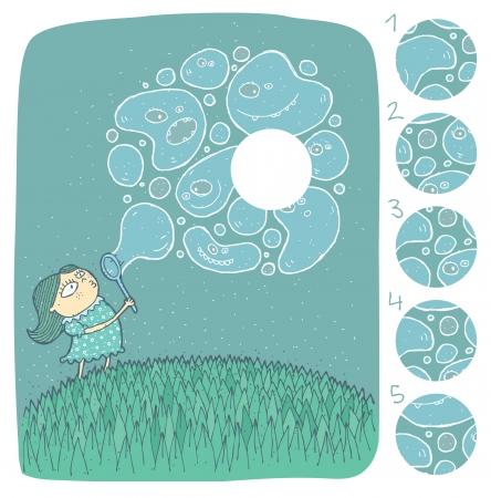 teaser: Ragazza con Task Sapone Mente Puzzle Bubbles gioco Trova la parte destra mancante di una soluzione di immagine No 4 Vettoriali