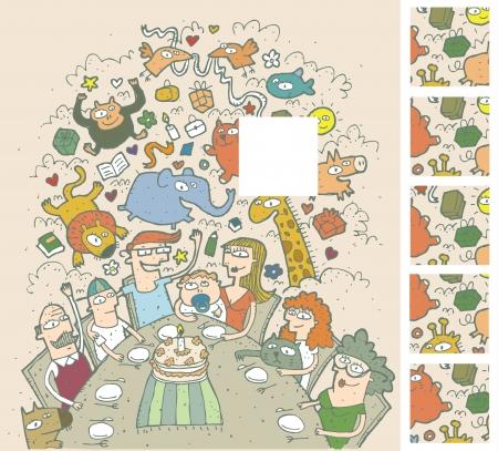 Birthday Celebration Mind Game Puzzle Task Vind de juiste ontbrekende deel van een foto Solution 2e vierkant van boven