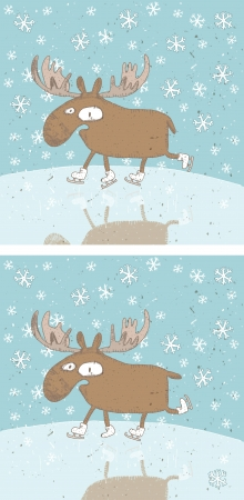 Funny Christmas Moos Mind Game    Task find ten differences      Solution is in hidden layer   Stock Vector - 17111425