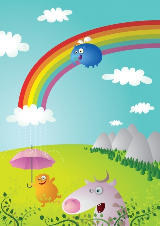 Rainbow Landscape with Funny Animals Vector