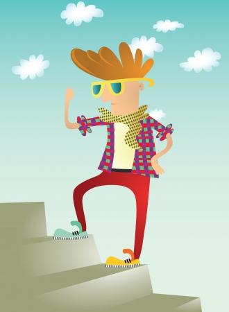 franela: Hipster con los vidrios en las escaleras