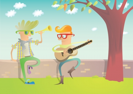 playing guitar: Two Hipsters Playing Guitar and Trumpet