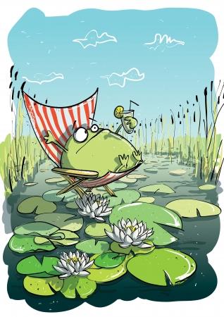 deck chair: Frog Having Fun