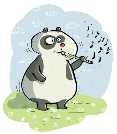 Panda with Flute Stock Vector - 17141148