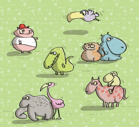 Animals Having Fun  Vector