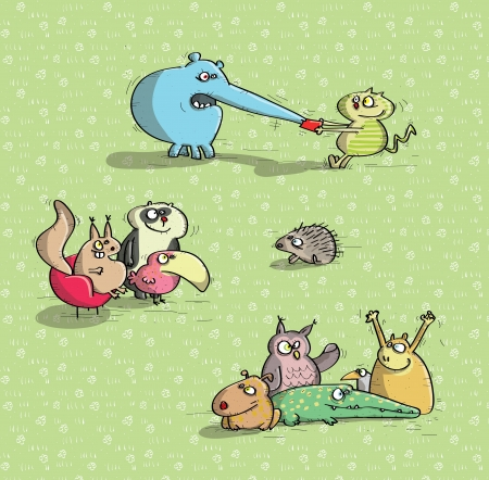 Animals Having Fun  Vector