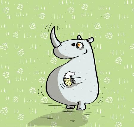 bier: Animals Having Fun : rhino with bear