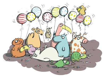 Animals with Balloons and Sweets  Vector