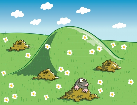 Mole and Molehills on Green Landscape with Flowers Vector