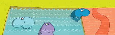 Hippos in Swimming Pool  Vector