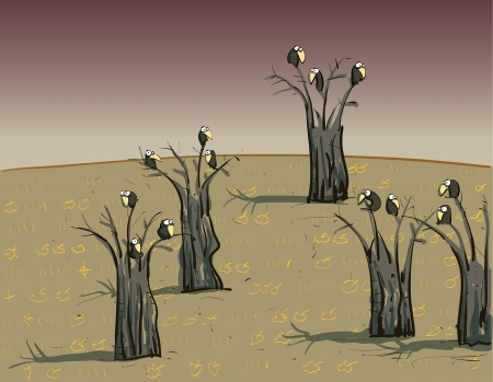 Crows on Trees : on Dark Background  Vector