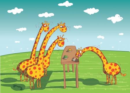 Giraffes Eating Dinner Stock Vector - 17141248