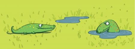Crocodiles and Water  Stock Vector - 17139226