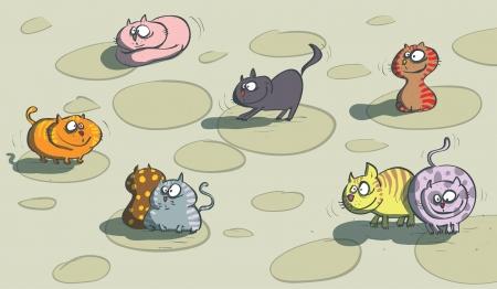 tilling: Many Cats  Illustration
