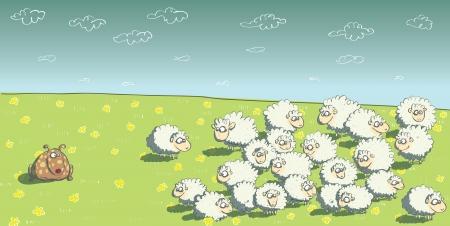 mouton cartoon: Troupeau de moutons et chien de berger Illustration