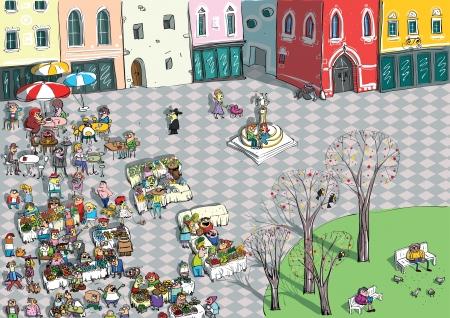 sunday market: Ciudad vibrante Cartoon Square Vectores