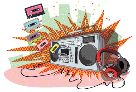 Retro Music Composition with boom-box, headphones and tapes
